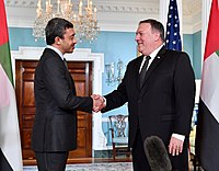 Minister of Foreign Affairs Abdullah bin Zayed Al Nahyan with U.S. Secretary of State Mike Pompeo, 2018.