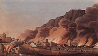 A painting depicting the burning of the coastal town and port of Emirate of Ras Al Khaimah during the Persian Gulf campaign of 1809.