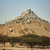Dhayah Fort at the hill top. In 1819 it was the last Al-Qasimi stronghold to fall in the Persian Gulf campaign of 1819. The fall of Dhayah was to pave the way for the signing of the General Maritime Treaty of 1820.