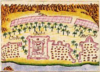 A painting of the Portuguese Empire Doba Fortress in Dibba Al-Hisn in 1620.