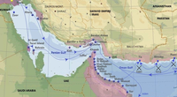 Purple – Portuguese in the Persian Gulf in the 16th and 17th century. Main cities, ports and routes.