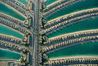 Residential villas in the Palm Jumeirah palm fronds in Dubai.