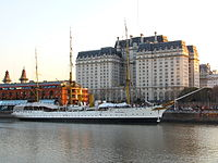 The training ship Sarmiento and the Ministry of Defense, Buenos Aires.