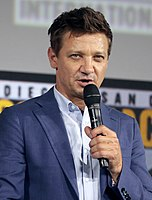 Renner promoting the series at the 2019 San Diego Comic-Con