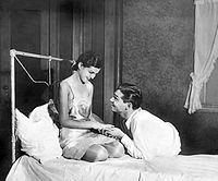 """In 1928's Machinal with Zita Johann, Gable was lauded as """"young, vigorous, and brutally masculine"""" by one critic."""