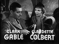 Gable and Claudette Colbert in It Happened One Night (1934), his Academy Award-winning performance