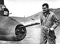 Gable with an 8th Air Force Boeing B-17 Flying Fortress in England, 1943