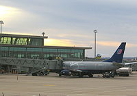 United Airlines Boeing 737 aircraft at the East Concourse of Will Rogers World Airport
