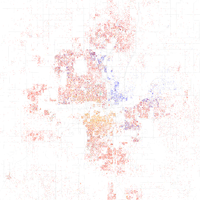 Map of racial distribution in Oklahoma City, 2010 U.S. Census. Each dot is 25 people: White, Black, Asian , Hispanic or Other (yellow)