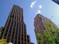 Looking up in the heart of Oklahoma City's Central Business District