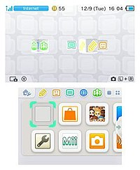 The Nintendo 3DS Home Menu as of system version 9.3.0-21. The upper screen displays a 3D animated logo for each individual app, while the bottom screen displays application icons.