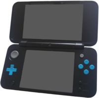 A Black x Turquoise New Nintendo 2DS XL