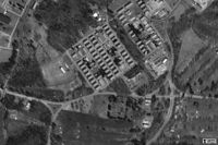 Barracks as seen from the air in 1995, now demolished