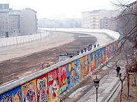 The Berlin Wall (painted on the western side) was a barrier that divided the city from 1961 to 1989.