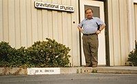 Ronald Drever outside his first laboratory at Caltech. Photo taken in 1993