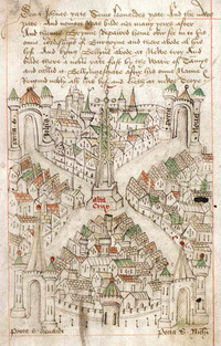 Robert Ricart's map of Bristol, drawn when he became common clerk of the town in 1478. At the centre, it shows the High Cross.