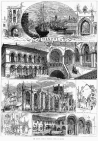 An 1873 engraving showing Colston Hall, the port and cathedral of Bristol