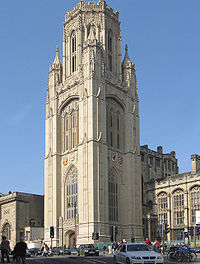 The Wills Memorial Building on Park Street, part of the university