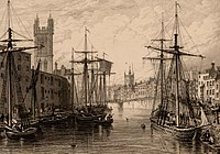 Black and white etching showing the towers of St Stephen's Church, St Augustine the Less Church and Bristol Cathedral, published c.1850