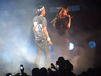 """Beyoncé and Jay-Z performing """"Drunk in Love"""" together."""