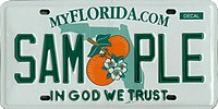 In God We Trust motto on Florida license plate