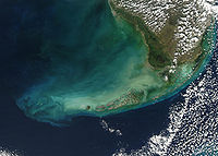 The Florida Keys as seen from a satellite – many of the Keys are made of limestone.