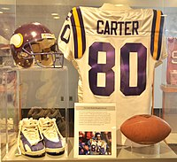 Cris Carter's Hall of Fame display. Carter was a Viking from 1990 to 2001.