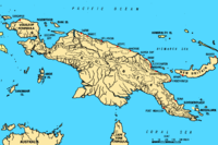 Map of New Guinea, with place names as used in English in the 1940s