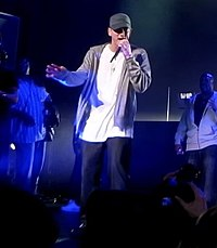 Eminem performing with D12 in May 2009