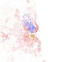 Map of racial distribution in Milwaukee, 2010 U.S. Census. Each dot is 25 people: White, Black, Asian , Hispanic or Other (yellow)