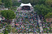 """Aerial view of """"Jazz in the Park"""", Cathedral Square Park"""