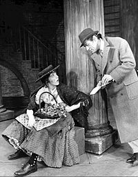 Andrews as Eliza Doolittle meets Rex Harrison as Professor Henry Higgins in the musical adaptation of Pygmalion, My Fair Lady