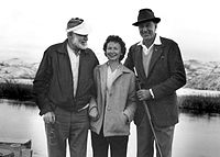 Hemingway bird-hunting at Silver Creek, near Picabo, Idaho, January 1959; with him are Gary Cooper and Bobbie Peterson