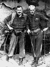 """Hemingway with Col. Charles """"Buck"""" Lanham in Germany, 1944, during the fighting in Hürtgenwald, after which he became ill with pneumonia."""