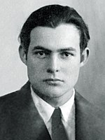Hemingway's 1923 passport photo. At this time, he lived in Paris with his wife Hadley, and worked as a foreign correspondent for the Toronto Star Weekly.
