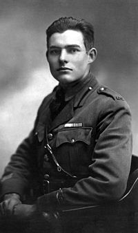 Hemingway in uniform in Milan, 1918. He drove ambulances for two months until he was wounded.