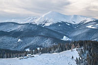 View of Carpathian National Park and Hoverla at 2,061 m, the highest mountain in Ukraine
