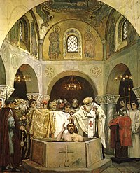 The baptism of Grand Prince Vladimir led to the adoption of Christianity in Kievan Rus'.