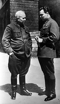 Two future leaders of the Soviet Union, Nikita Khrushchev (pre-war CPSU chief in Ukraine) and Leonid Brezhnev (an engineer from Kamianske), depicted together