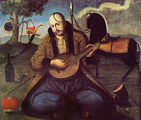 Cossack Mamay playing a kobza