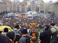 Protesters at Independence Square on the first day of the Orange Revolution