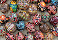 A collection of traditional Ukrainian Easter eggs – pysanky. The design motifs on pysanky date back to early Slavic cultures.