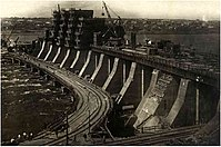The Dnieper Hydroelectric Station under construction, around 1930