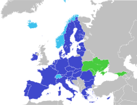 In January 2016, Ukraine joined the Deep and Comprehensive Free Trade Area (green) with the EU (blue), established by the Ukraine–European Union Association Agreement, opening its path towards European integration.