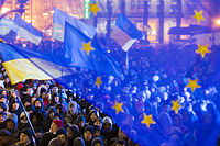 Pro-EU demonstration in Kyiv, 27 November 2013, during the Euromaidan protests