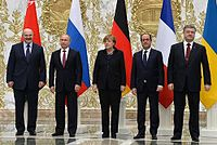 Leaders of Belarus, Russia, Germany, France, and Ukraine at the Minsk II summit, 2015