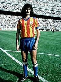 Argentine forward Mario Kempes in 1979. He played 8 years for the club, becoming top scorer in two seasons.