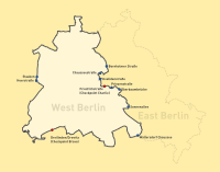 A map showing the border crossings between West and East Berlin. The checkpoint at Waltersdorfer Chaussee could only be used by West Germans travelling to and from nearby Schönefeld Airport (click to enlarge).