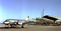 An Ilyushin Il-14 of Interflug at Schönefeld Airport in 1961, a time when the terminal building was under construction