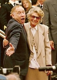 Brooks with wife Anne Bancroft at the 1991 Cannes Film Festival